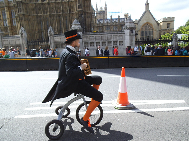 eccentric cyclist in Parliament Square - photo by Stephen Craven
