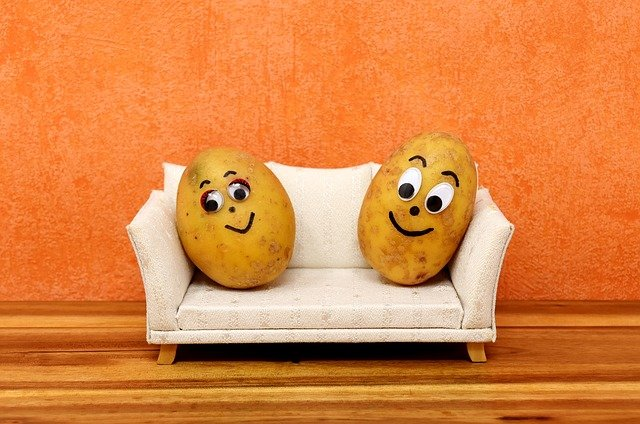 potatoes with faces on tiny couch