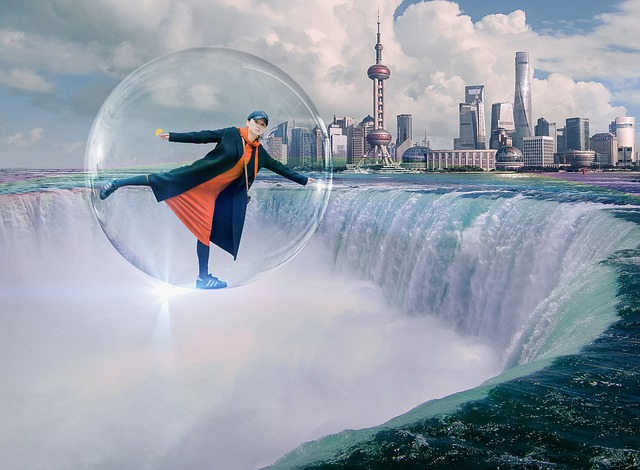 woman in bubble rising from waterfall